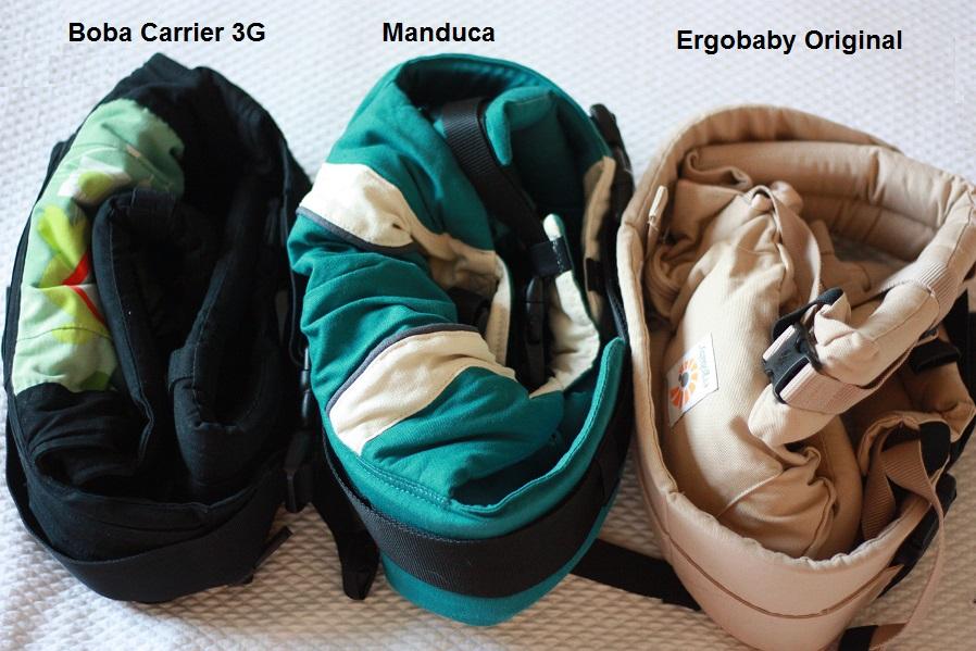 Boba Carrier 3G, Manduca y Ergobaby Original plegadas